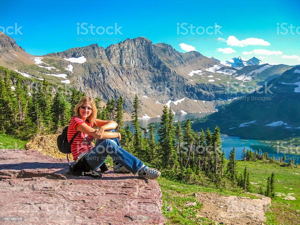 Hiking to Hidden Lake Overlook stock photo