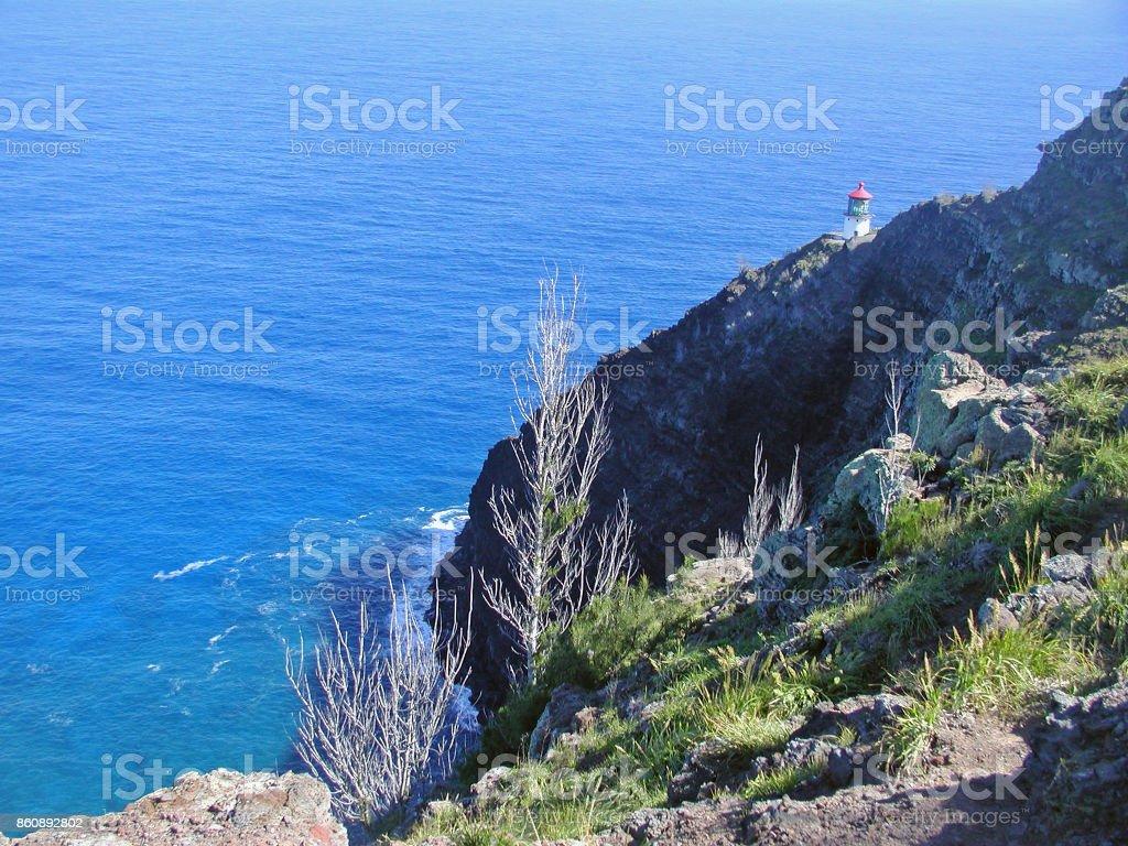 Hiking to Makapuu Lighthouse stock photo