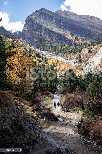 istock Hiking to Samagaun on the Manaslu circuit, Nepal 1080432224