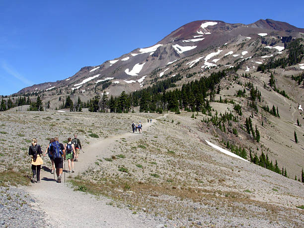 Hiking to South Sister (Oregon) 2 stock photo