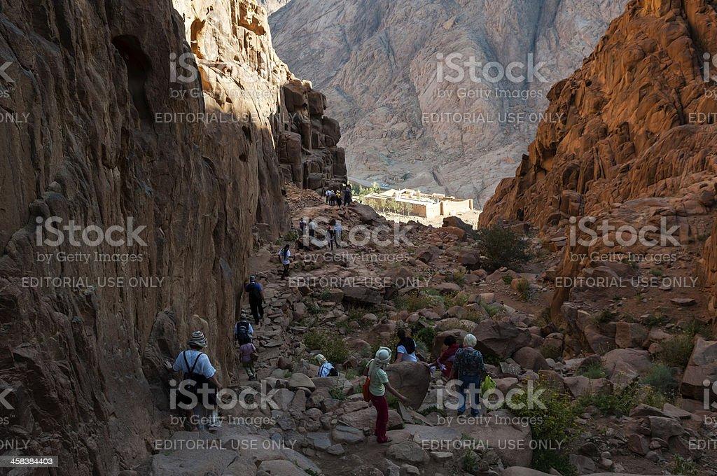 Hiking to St. Catherine's Monastery via Steps of Penitence, Sinai stock photo