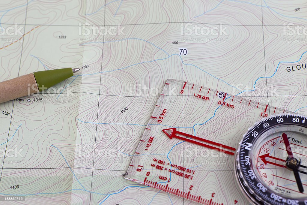 Hiking Topographic map royalty-free stock photo