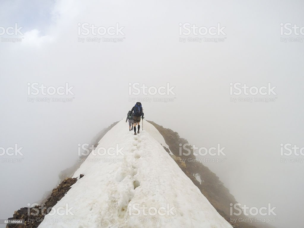 Hiking Tour across the Schneebige Nock in the Austrian Alps stock photo