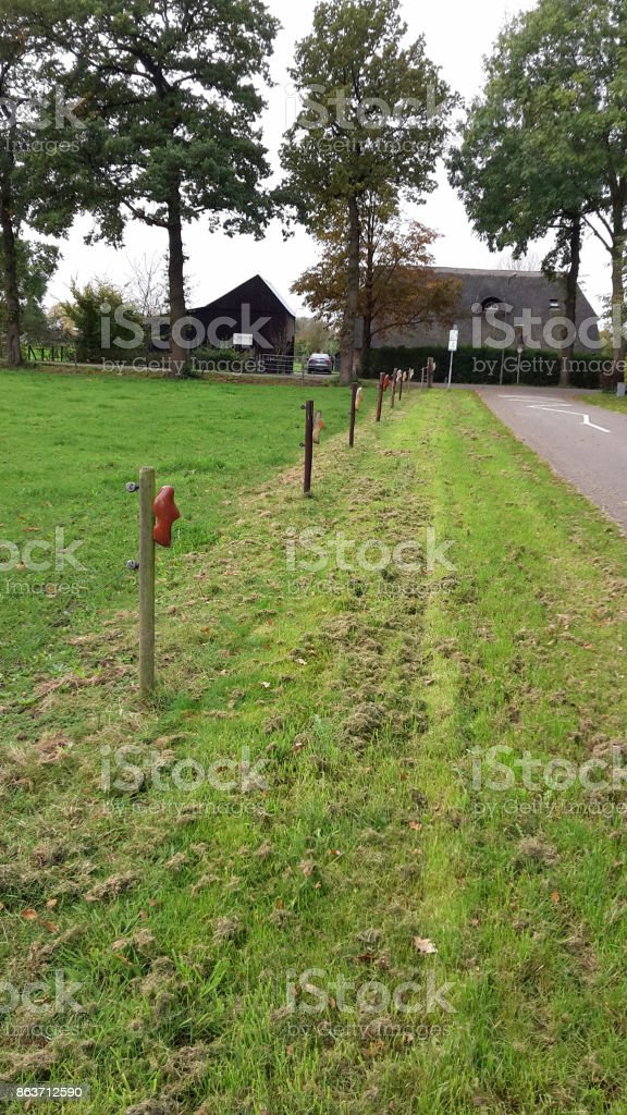 Hiking track in the Netherlands, with clogs on poles to mark the route stock photo