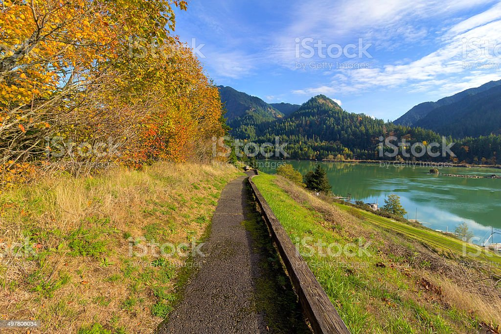 Hiking Trail along Columbia River Hiking Trail along Columbia River Gorge in Washington State during Fall Season 2015 Stock Photo