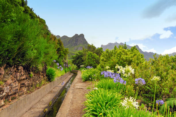 Hiking trail along the levada or irrigation canal on Madeira Island,Portugal stock photo
