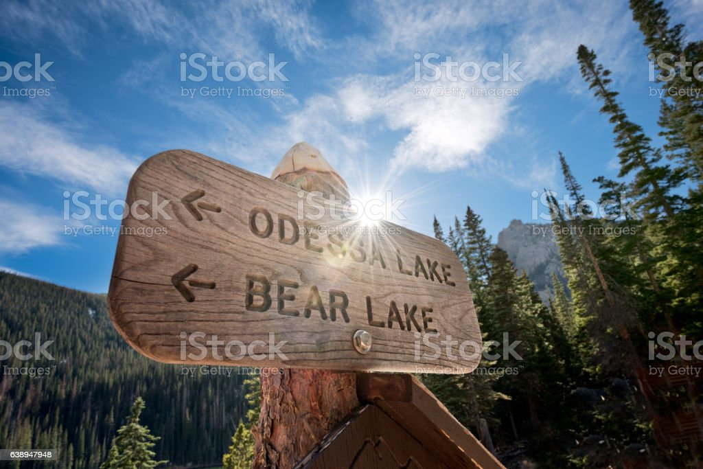 Hiking Trail at Rocky Mountain National Park stock photo