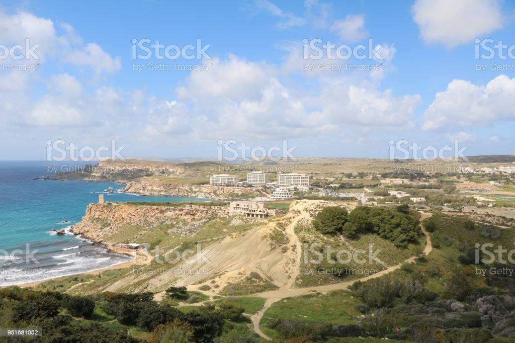 Hiking trail from Gnejna Bay to Ghajn Tuffieha Bay at the Mediterranean Sea in Malta stock photo