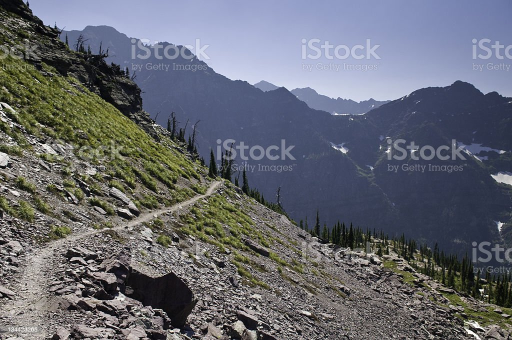 Hiking Trail High Traverse, Glacier National Park royalty-free stock photo