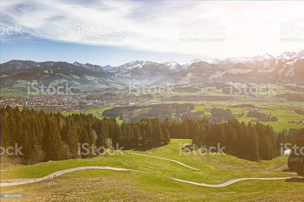 Hiking trail in Allgäu, Germany stock photo