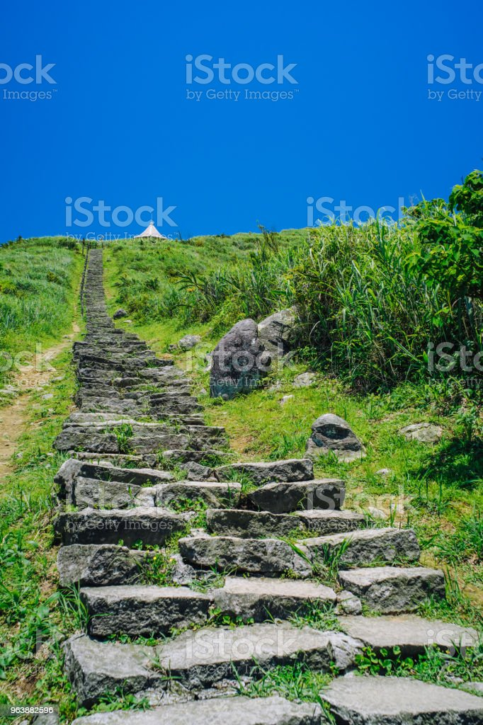 Hiking Trail in Keelung Mountain from Ruifang District, New Taipei, Taiwan. - Royalty-free Blue Stock Photo