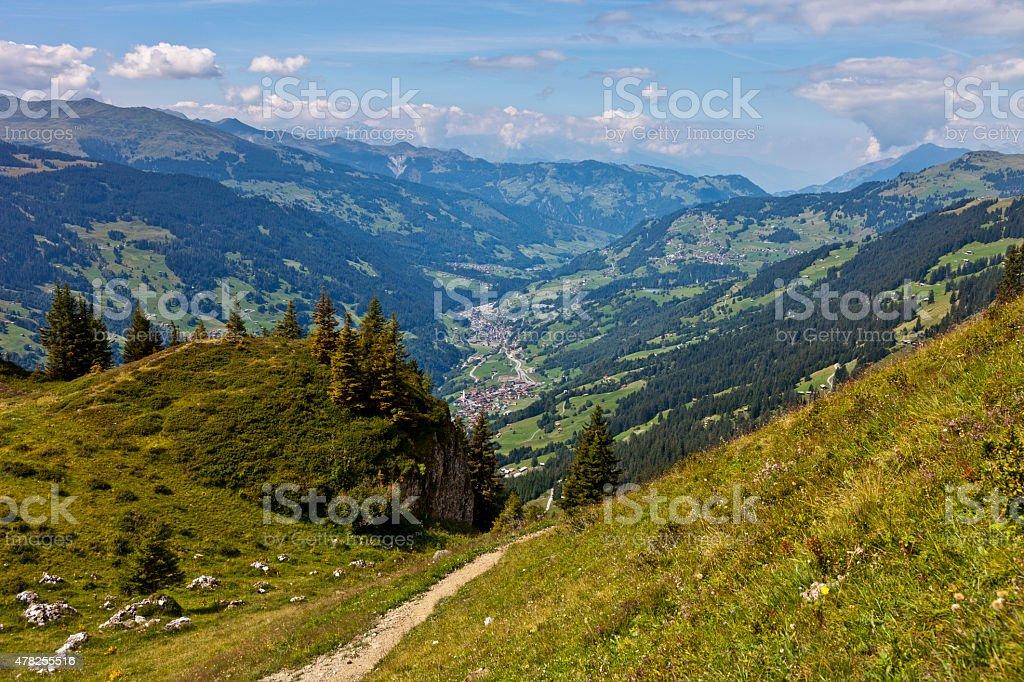 Hiking Trail in Prättigau stock photo
