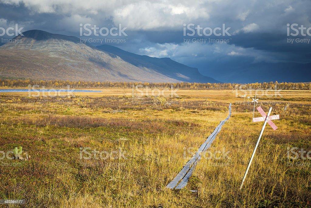 Hiking Trail in Swedish Lapland stock photo