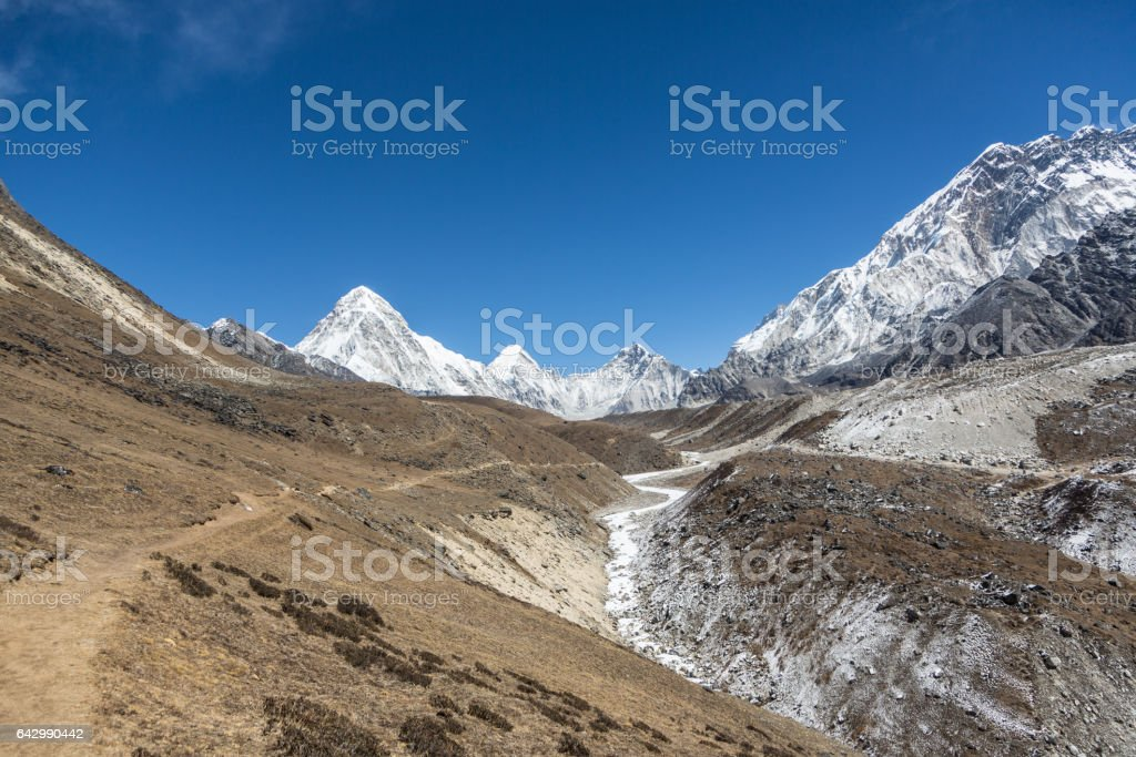 Hiking trail leading to Mt Everest base camp in Himalays in Nepal stock photo