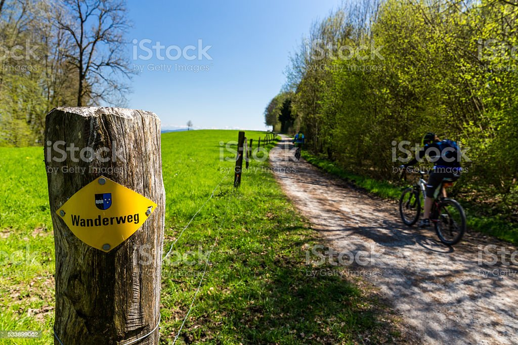 Hiking trail on Mountain Heitersberg stock photo