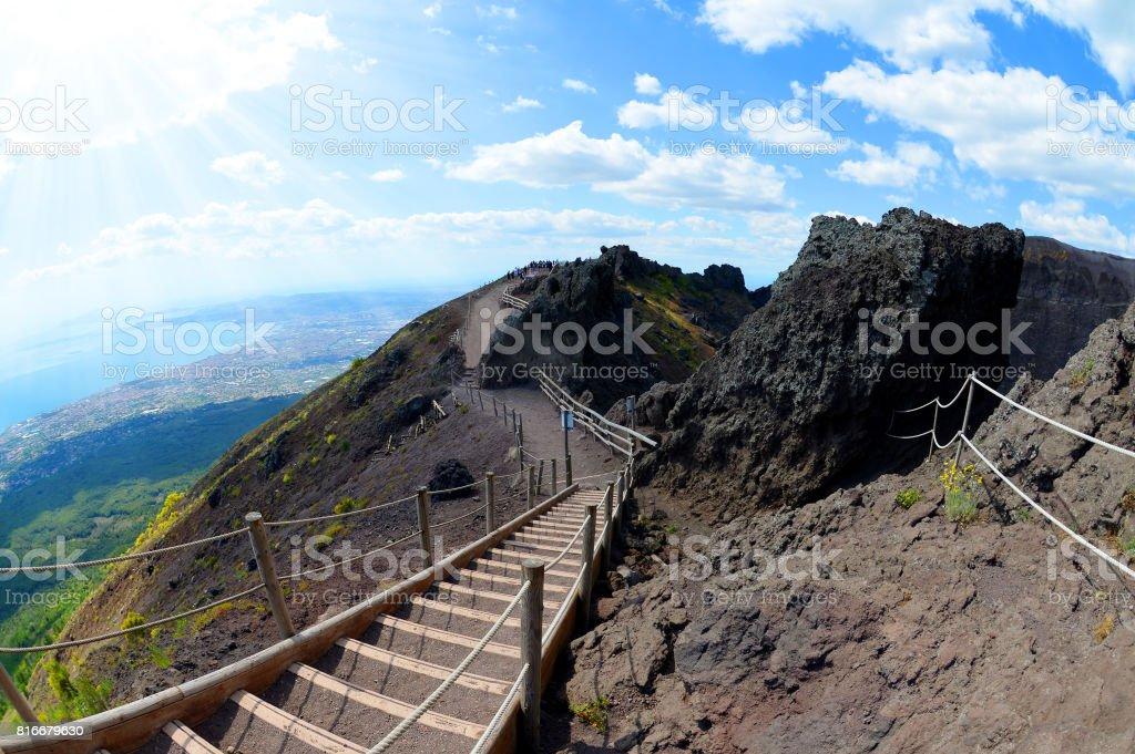Hiking trail on Vesuvius volcano, Italy stock photo