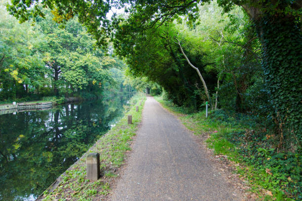 Hiking trail path at river in Basingstoke Channel, Woking, Surrey, England stock photo