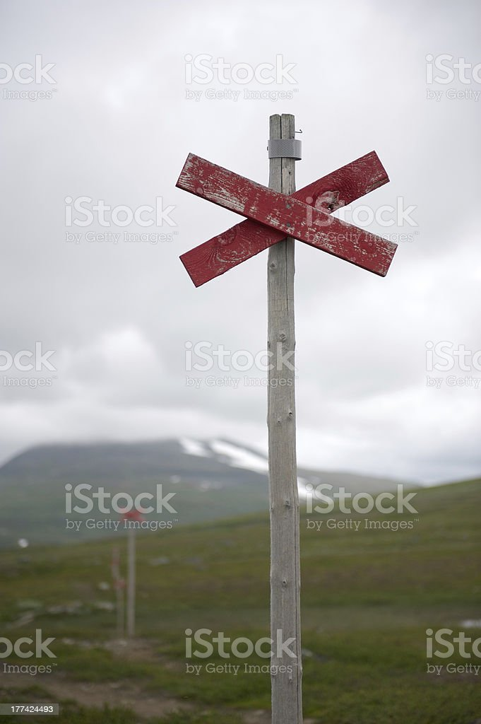 Hiking trail post royalty-free stock photo