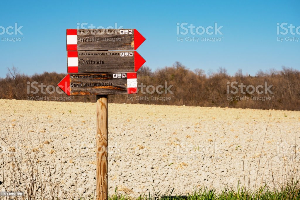 Hiking trail sign in Val d'Orcia (Tuscany). Italy, 2017. stock photo