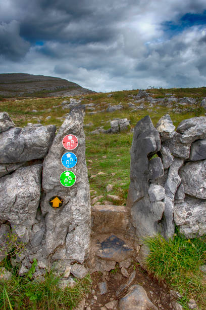 hiking trail signs - the burren stock pictures, royalty-free photos & images