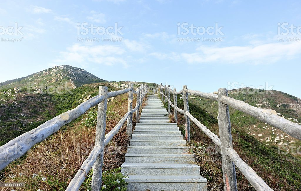 hiking trail to mountain top royalty-free stock photo