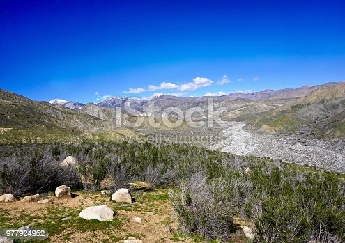 hiking trails through Whitewater River Canyon along river basin