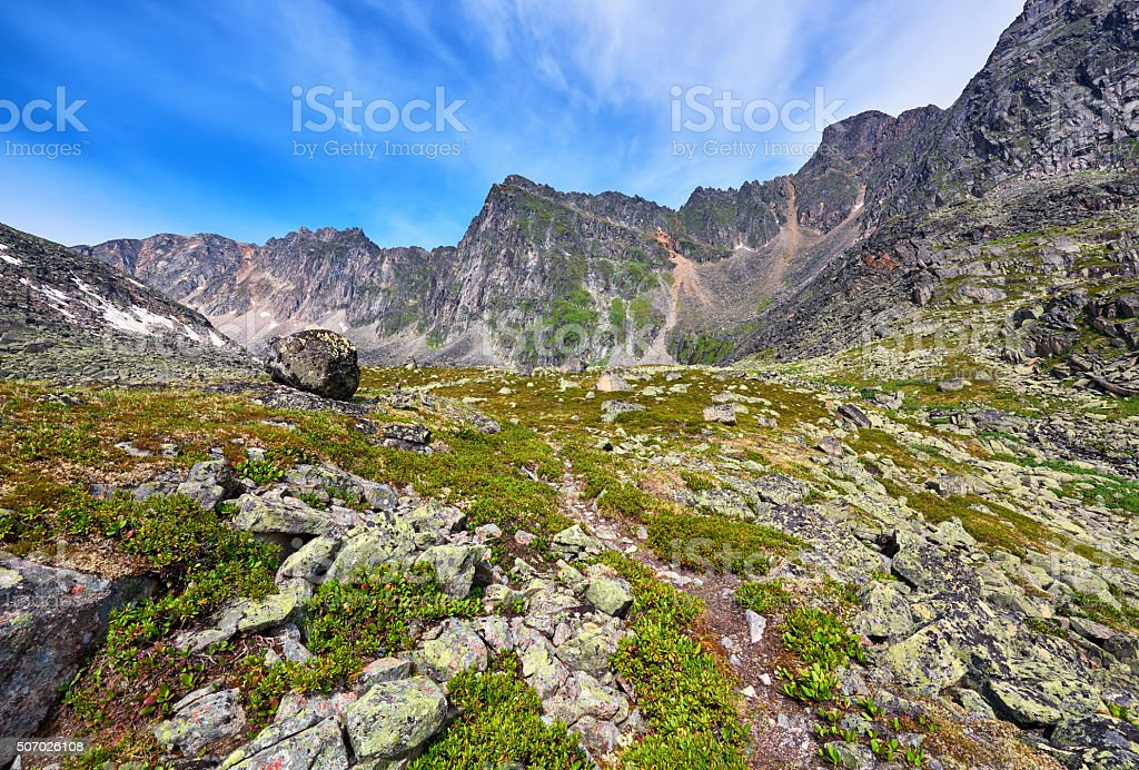 Hiking trails in the mountains stock photo