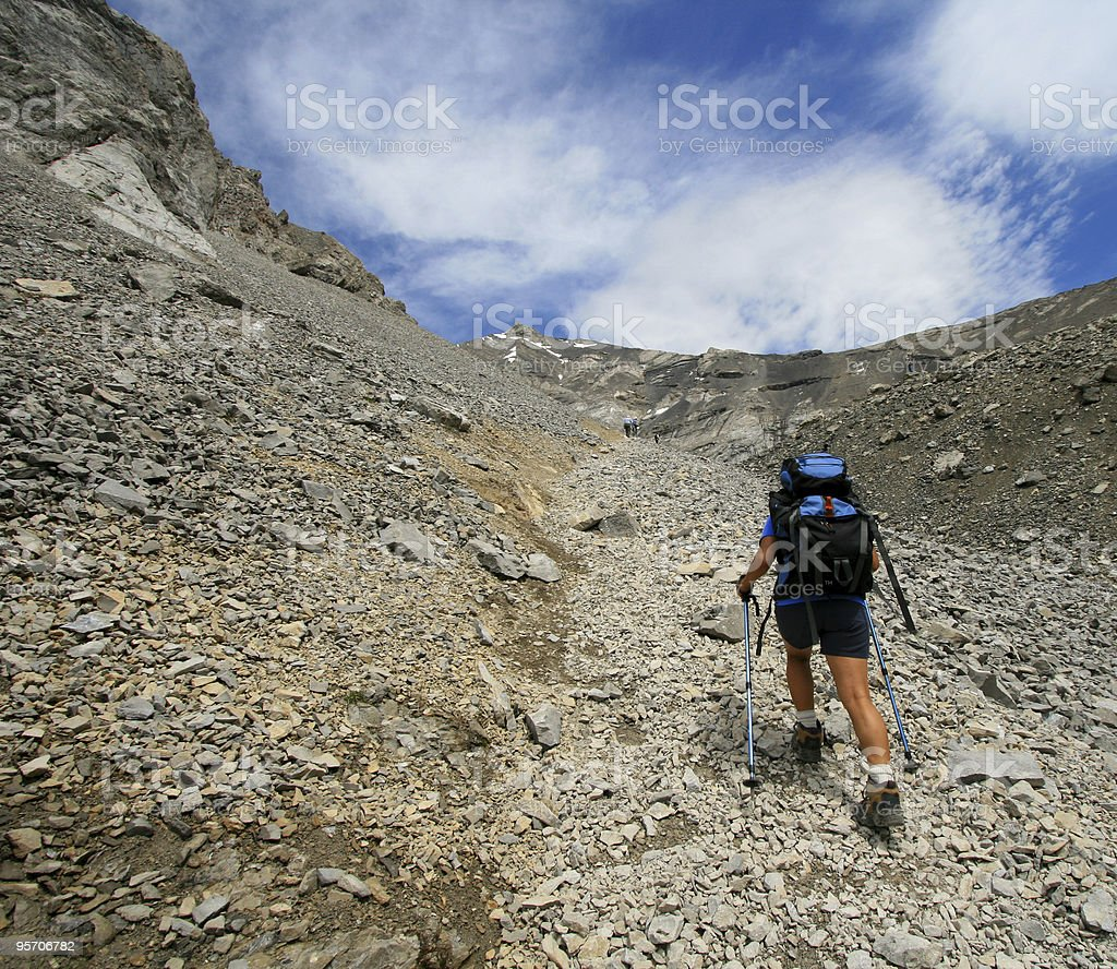 Hiking Up Mountain Trail royalty-free stock photo