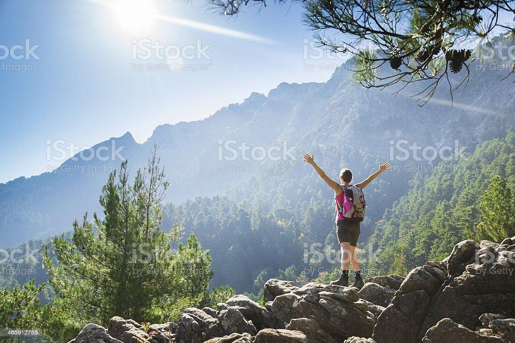 Hiking up stock photo