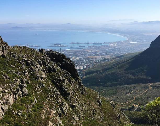 Hiking up Table Mountain in South Africa. stock photo