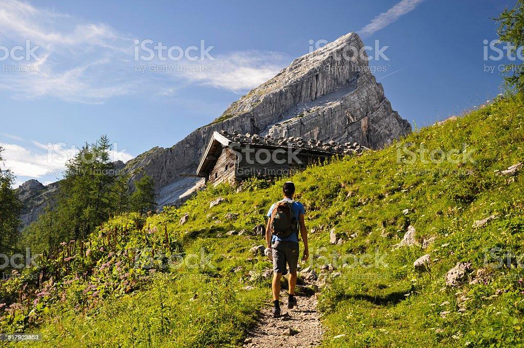 Hiking up Watzmann Mountain - Berchtesgaden, Germany stock photo