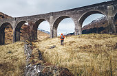 Hiking, walk with backpack, active lifestyle concept image. Man traveler walks neaar famous Glenfinnan viadukt in Scotland