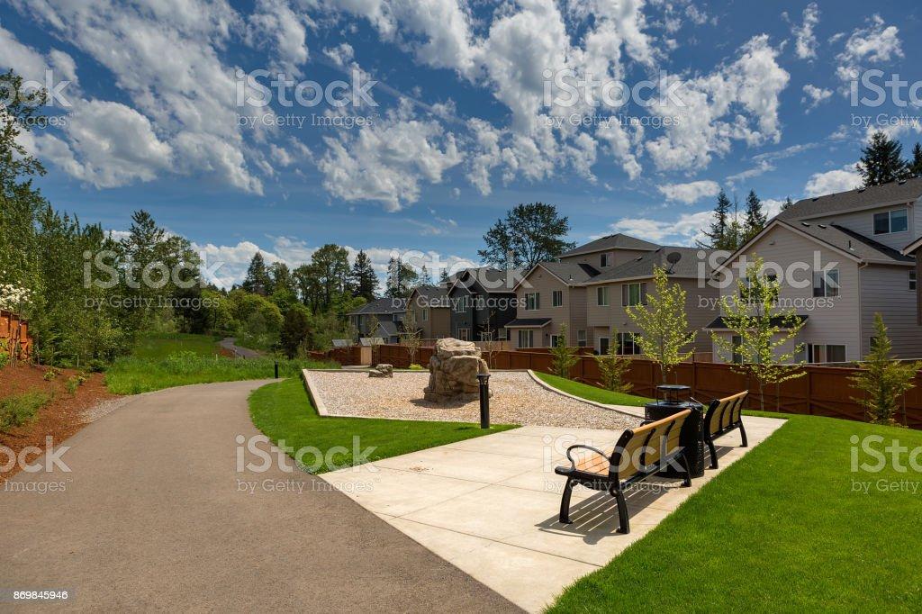 Hiking walking path trail in Happy Valley Oregon housing development USA stock photo