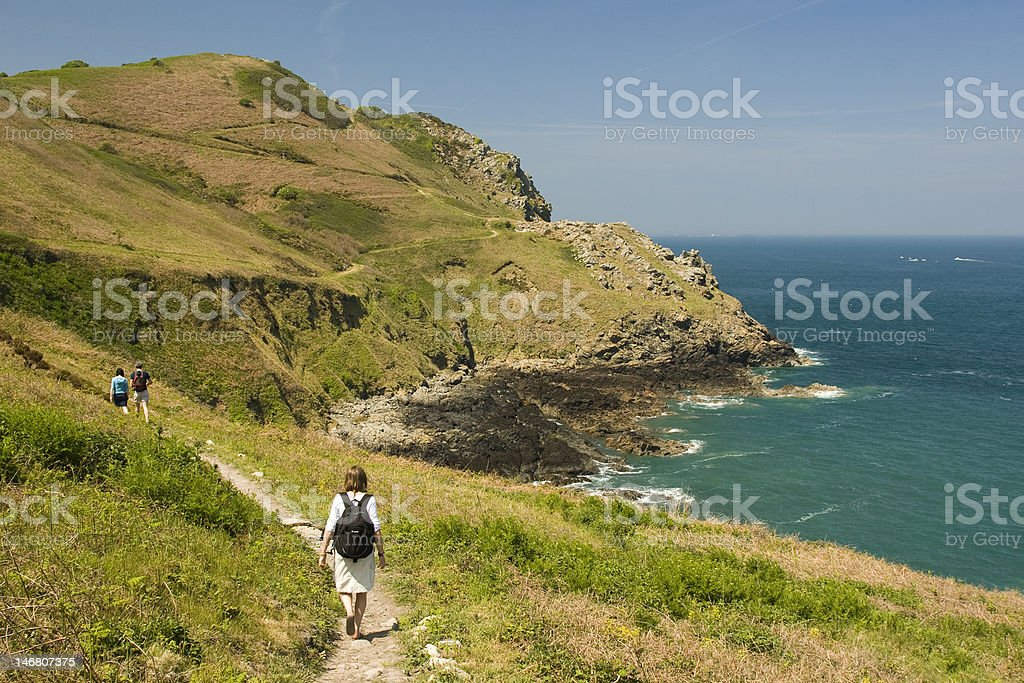Hiking West of Boulay Bay, Jersey stock photo