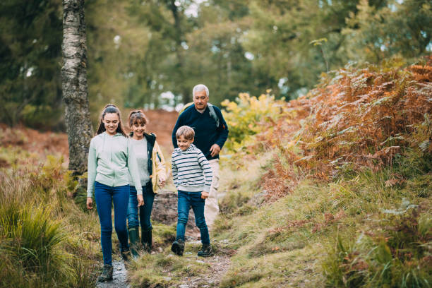 hiking with our grandparents - people uk stock photos and pictures