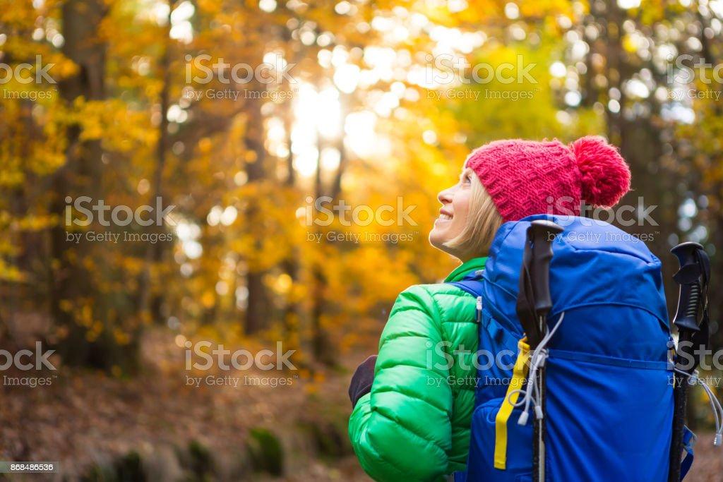Frau mit Rucksack Blick auf inspirierende herbstlichen goldenen Wälder wandern – Foto