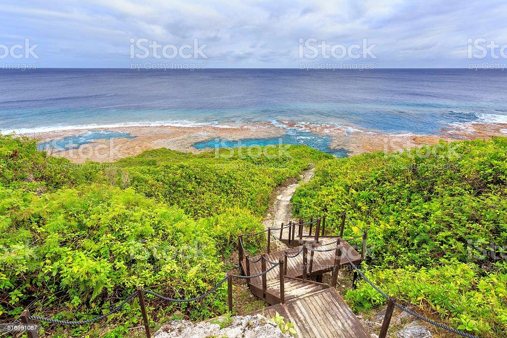 Hikutavake reef flats and pools stock photo