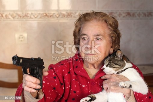 istock Hilarious lady protecting her cat 1191221356
