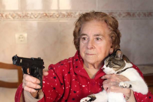 Senhora hilariante que protege seu gato - foto de acervo