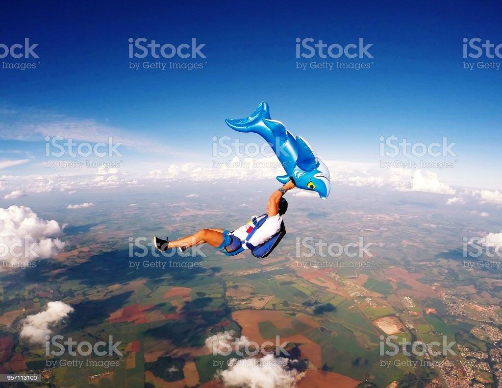 Hilarious Skydiving scene stock photo