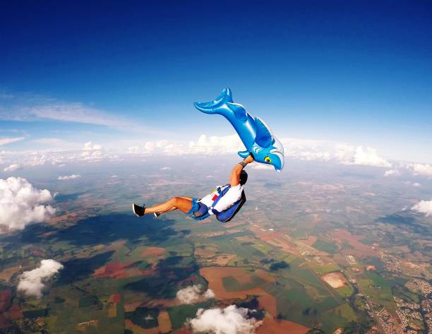 Hilarious Skydiving scene stock photo