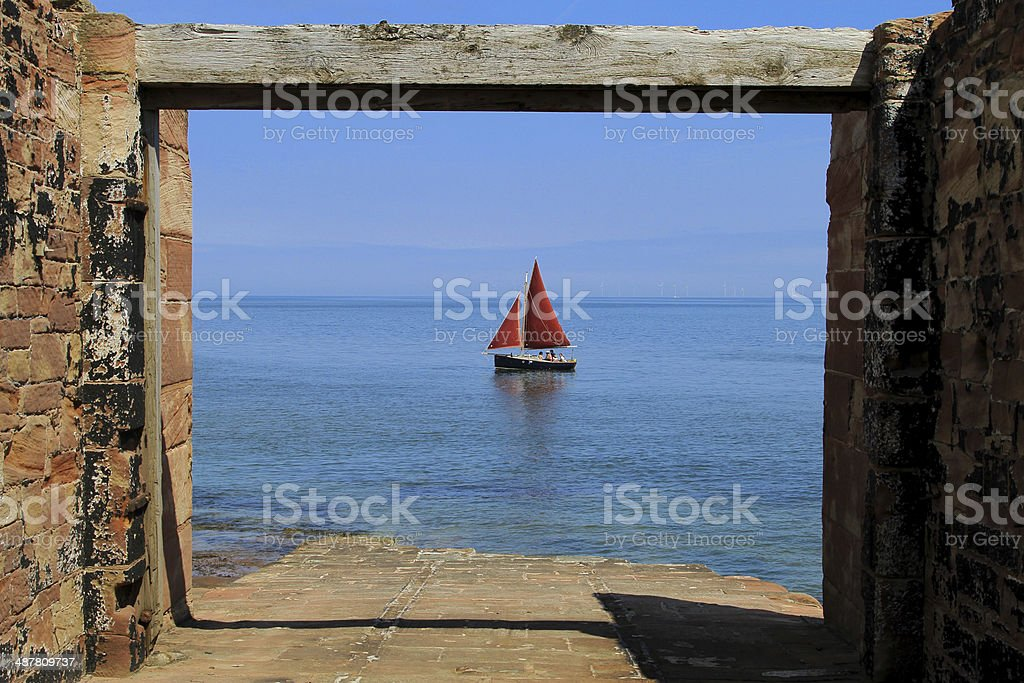 Hilbre Island Slipway Yacht stock photo
