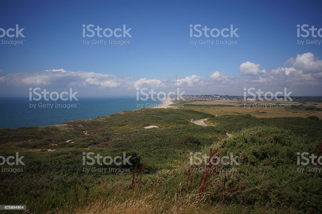 Hill and beach view stock photo