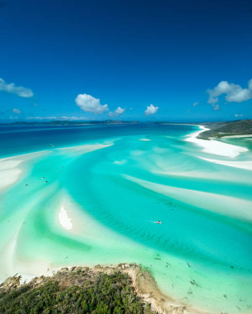 hill inlet lookout - great barrier reef marine park stock pictures, royalty-free photos & images