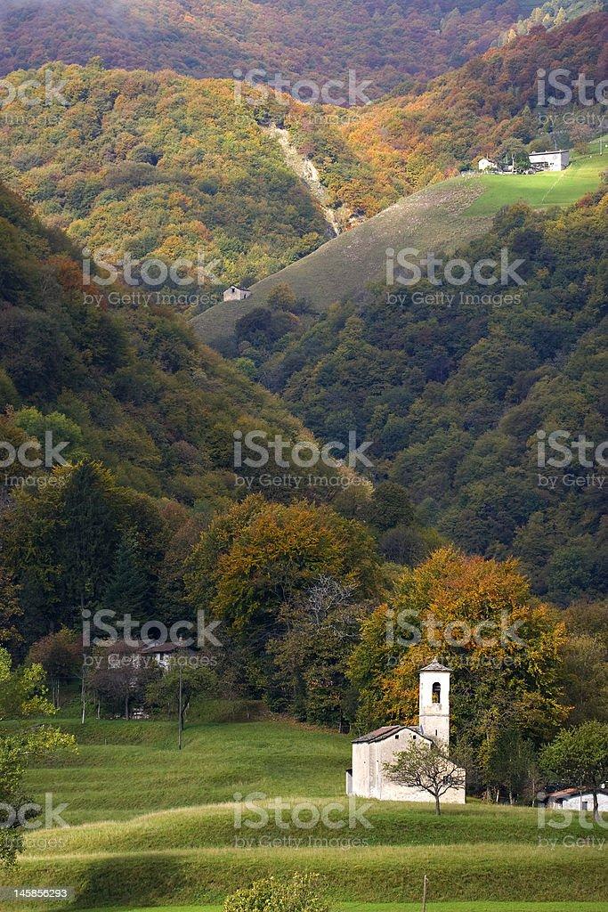 Hill landscape, small church stock photo