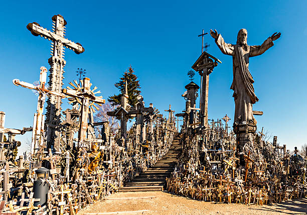 Hill of the Crosses near Siauliai city in Lithuania stock photo