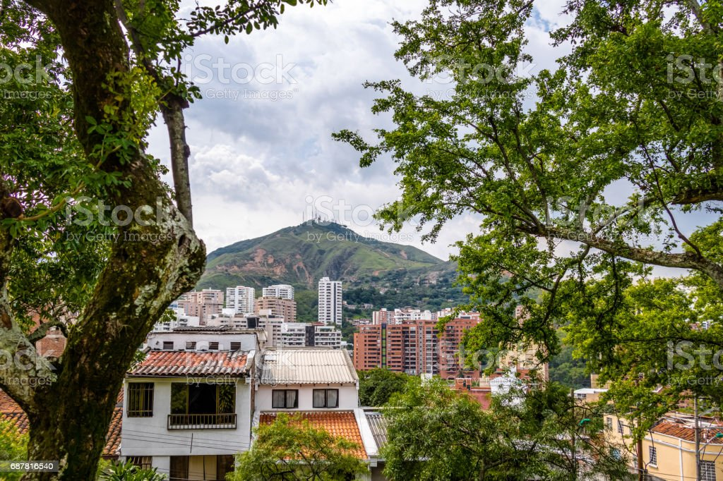 Hill of Three Crosses (Cerro de Las Tres Cruces) and Cali city view - Cali, Colombia stock photo