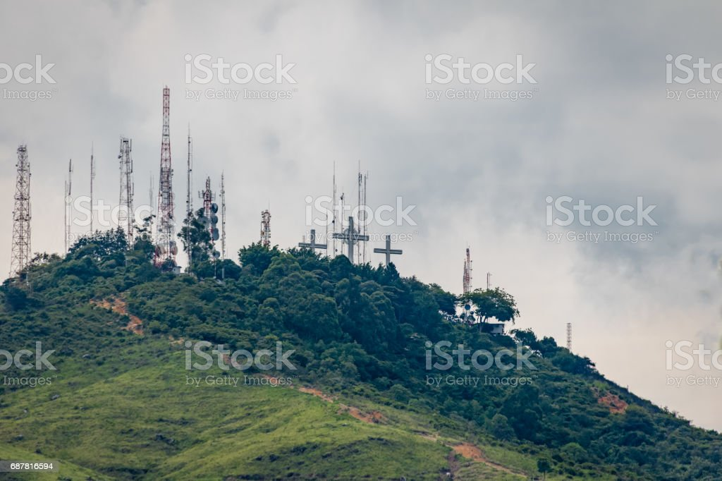 Hill of Three Crosses (Cerro de Las Tres Cruces) - Cali, Colombia stock photo