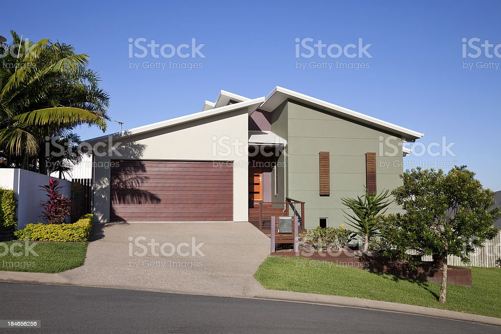 Hill side home front stock photo