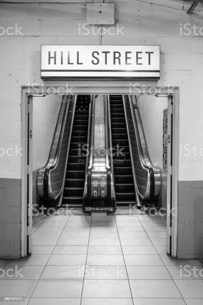 Hill Street Exit. Pershing Square DTLA - Royalty-free Architectuur Stockfoto